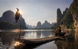 China, lake, boat, fisherman, bird, mountains