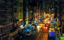 Aperçu fond d'écran Chinatown, New York, Manhattan, États-Unis, nuit, rue, magasins, voitures, lumières