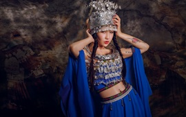 Preview wallpaper Chinese girl, tattoo, headdress, blue dress