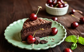 Chocolate cake, red cherry, food