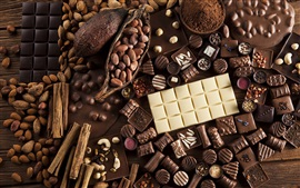 Chocolate candy, nuts, sweet food
