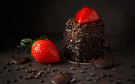 Preview wallpaper Chocolate, cream, strawberry, dessert