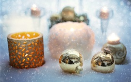 Preview wallpaper Christmas balls, candle, snow
