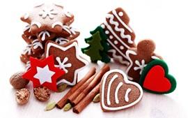 壁紙のプレビュー クリスマス、シナモン、クッキー、ナッツ