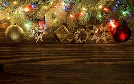Preview wallpaper Christmas decoration, balls, gift, twigs, lights