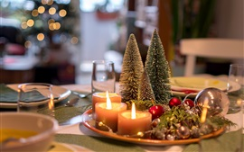 Christmas decoration, trees, candles, fire, bokeh