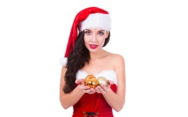 Preview wallpaper Christmas girl, hat, balls, white background