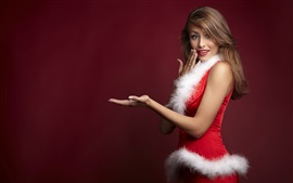 Preview wallpaper Christmas girl, red dress, hands pose
