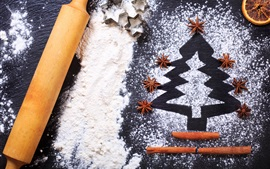 Preview wallpaper Christmas tree, flour