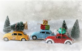 Preview wallpaper Christmas trees, toy cars, gifts, snowy