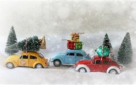 壁紙のプレビュー クリスマスツリー、おもちゃの車、プレゼント、雪