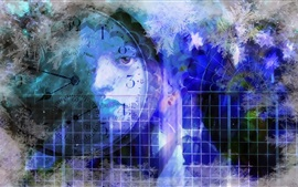 Preview wallpaper Clock, window, eyes, colors, abstract design