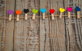 Preview wallpaper Clothespins and love hearts, colorful, wood board