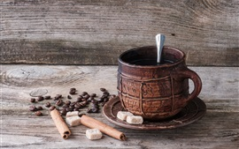 Preview wallpaper Coffee beans, a cup of coffee, sugar, cinnamon