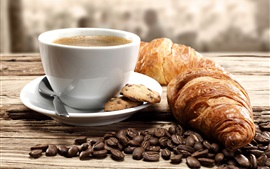 Preview wallpaper Coffee beans, coffee, cup, croissants