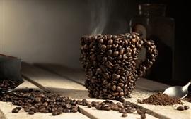 Copo de feijão de café, vapor, colher