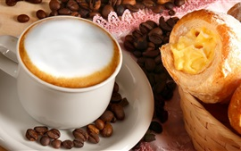 Preview wallpaper Coffee, cup, coffee beans, bread
