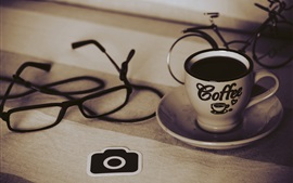 Coffee, cup, glasses