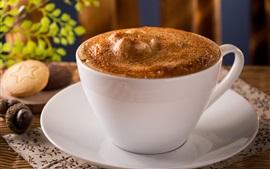 Café, taza blanca, espuma