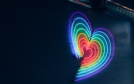 Preview wallpaper Colorful neon love hearts, night