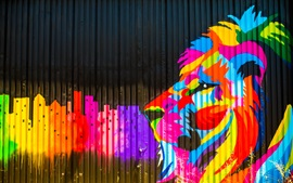 Preview wallpaper Colorful paint, fence, graffiti, lion