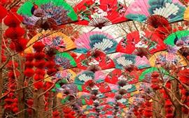 Ventilador de papel colorido, festival de primavera, Beijing, China