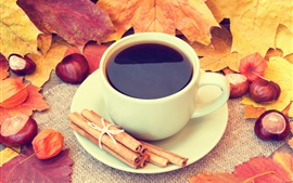 Preview wallpaper Cup, coffee, leaves, acorns, cinnamon, autumn