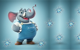 Cute 3D elephant, art cartoon
