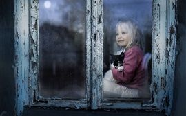 Preview wallpaper Cute child girl and kitten, look out window