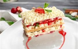 壁紙のプレビュー おいしいデザート、クリーム、イチゴ