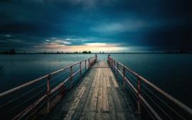 Preview wallpaper Dock, fence, lake, dusk