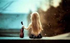 Doll girl, back view, violin, snow