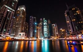 Preview wallpaper Dubai, UAE, skyscrapers, night, lights, river