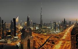 Дубай, ОАЭ, городской, небоскреб, огни, дороги