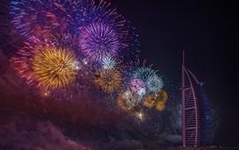 Дубай, фейерверк, ночь
