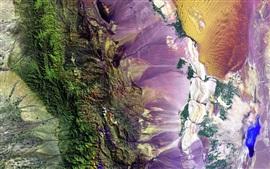Tierra, montañas, colores coloridos, vista superior, NASA