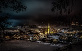 Preview wallpaper Ellmau, Austria, church, city, houses, night, snow, winter