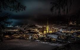 Ellmau, Áustria, igreja, cidade, casas, noite, neve, inverno
