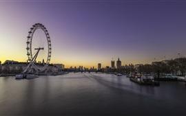 Embankment, Londres, Inglaterra, crepúsculo, rio, ponte, roda gigante