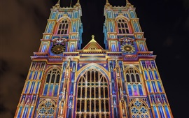 Inglaterra, Londres, Westminster Abbey, colorida, noite