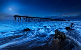 Preview wallpaper England, sea, pier, tide, night, blue