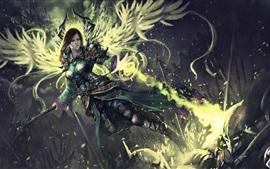 Fantasy angel girl, wings, magic
