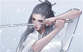 Aperçu fond d'écran Fantaisie fille, kimono, katana, dessin d'art