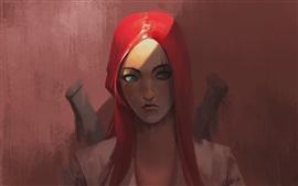 Chica de pelo rojo fantasía, ojos azules