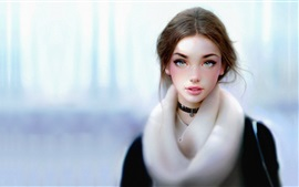 Preview wallpaper Fantasy young girl, winter
