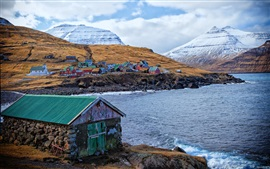 Preview wallpaper Faroe Islands, Denmark, houses, colors, mountains, sea