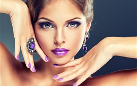 Preview wallpaper Fashion girl, makeup, purple lips, hands