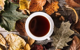 Foliage, cup, coffee, autumn