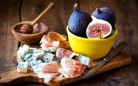 壁紙のプレビュー 食べ物、イチジク、ベーコン、チーズ