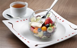 Preview wallpaper Fruit dessert, tea